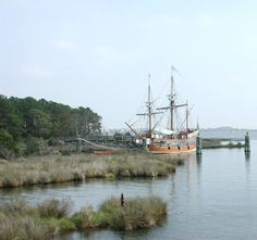 The Queen Elizabeth II docked just behind the Roanoke Festival Park and Roanoke Adventure Museum buildings.