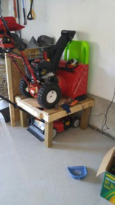 Space saver for garage lawn mower and snow. Space saver for garage lawn mower and snow blower on top Ra Storage Shed Organization, Garage Tool Storage, Garage Shelving, Diy Storage, Garage Workbench, Wall Storage, Storage Ideas, Garage Bench, Garage Workshop Organization