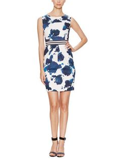 Les Copains Abstract Floral Print Dress with Banded Waist
