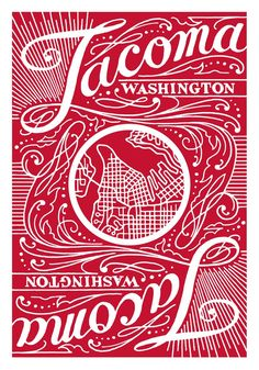 Tacoma Playing Cards by Tacoma Makes (Red Deck). Card back design.