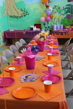 I love how this Dora theme is not over done. A simple, solid colour for plates, cups and table cloth make it less busy and by opting out of Dora plates and accessories not only saves you money but looks more put together and thought out! -Courtenay