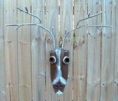 Deer or Reindeer Iron Art Home Decor, Handmade Iron Deer Head Sculpture, Found Upcycled Metal Art 58.00
