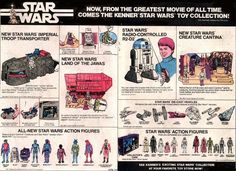 Great two page ad for Star Wars toys including the Jawa ship, troop transporter and radio controlled Retro Toys, Vintage Toys, México Riviera Maya, Star Wars Cast, Star Trek, Kenner Toys, Star Wars Merchandise, One Wave, Stars Then And Now