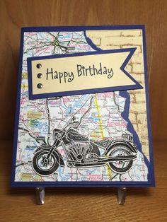 57 best Ideas for motorcycle man birthday cards Birthday Cards For Boys, Masculine Birthday Cards, Bday Cards, Handmade Birthday Cards, Masculine Cards, Happy Birthday Cards, Greeting Cards Handmade, Male Birthday, Diy Birthday