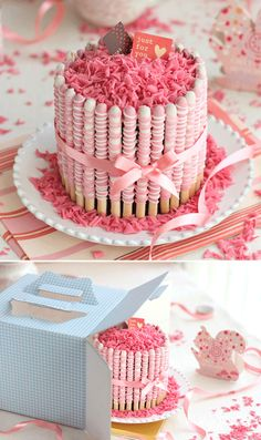 Pretty presentation! Candy coated pretzel sticks wrapped around a cake, topped with candy melt shavings or candy sprinkles and tied with a bow.