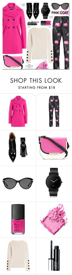 """""""Pretty Pink Coats"""" by anyasdesigns ❤ liked on Polyvore featuring Rochas, Sigerson Morrison, Salvatore Ferragamo, Versace, South Lane, NARS Cosmetics, Bobbi Brown Cosmetics, See by Chloé, Clinique and StyleNanda"""