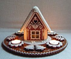 gingerbread house with tea-lights