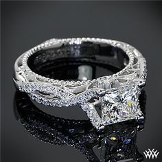 I absolutely LOVE this ring <3 This    Verragio Pave Twist Diamond Engagement Ring    is set in 18k white gold and holds a 1.083ct    A CUT ABOVE® Princess Diamond   .