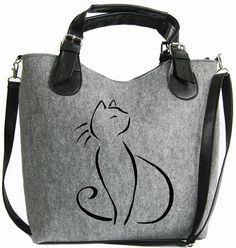 BAG FOR GIFT, Women felt bag, Felt totebag, Cat bag, Felt shopperbag, Felt…