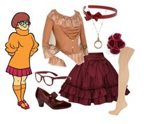 """""""Velma Lolita"""" by meiki ❤ liked on Polyvore featuring Dorothy Perkins, Joie, Michelle D, 1928, Mimco, lolita fashion, lolita, velma and scooby doo"""