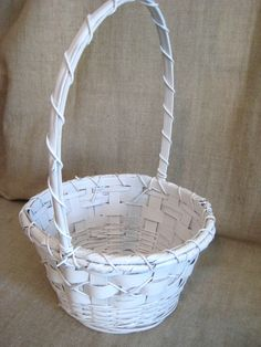 White Flower Girl Basket. $18.00, via Etsy.