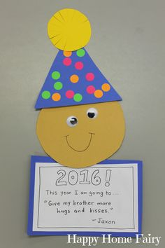 new year's craft - simple and cute! i can't wait to see what my students resolve to do this year!