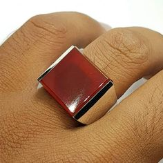 sulemani red aqeeq stone in 925 sterling silver with great handmade design. Stone Rings For Men, Mens Ring Sizes, Square Rings, Agate Ring, Handmade Silver, Handmade Jewelry, Size 10 Rings, Silver Pendant Necklace, Carnelian
