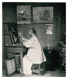 Lam Qua in his Studio (Atelier), Hong Kong,1870s.