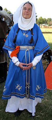 Stacie Tibbetts, or Countess Leanora Morgana, wears the clothing of a circa 1100 Saxon.