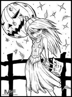 Coloring Pages For Girls, Coloring Pages To Print, Coloring Book Pages, Coloring For Kids, Printable Coloring Pages, Cute Halloween Coloring Pages, Halloween Drawings, Anime Halloween, Mandala Coloring