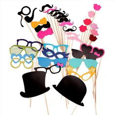 36pcs Wedding Props On A Stick Mustache Photo Booth di levimarket, $15.99