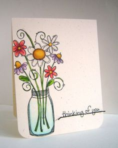Alice: Alice Wertz - Bouqet in Jar Thinking of You Card Doodle Drawings, Doodle Art, Envelope Art, Card Drawing, Paint Cards, Happy Paintings, Flower Doodles, Watercolor Cards, Creative Cards