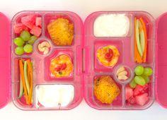 02062014 - grapes, watermelon, morning glory muffin, frittata w/ ketchup, yoghurt, carrot & cucumber sticks, cashew nuts