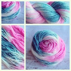 KISS ME, WW. Yarn Baby, LLC www.yarnbaby.biz #yarn Because the bamboo in this yarn is a plant fiber, it takes the dye differently than the merino and leaves a silvery shine. It's very beautiful. And soft. Colors: bright pink, teal, white (I use only professional grade dyes) Yards: 230 Weight: light worsted weight Fiber: 60% merino, 40% bamboo Care instructions: hand wash, cool water, lay flat to dry