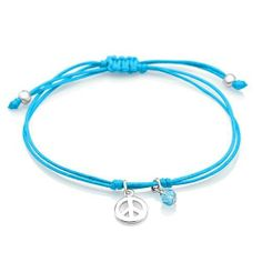 925 Sterling Silver Love Peace Sign Charm with Dangling Blue Crystal Turquoise Wax Cord Bracelet, Adjustable length 6''-8'' Fashion Jewelry for Women, Teens, Girls - Nickel Free Chuvora. $17.99. Packaging: Black Velvet Pouch. Mark 925 Sterling Silver. Charm diameter: 8mm. Bracelet length: 7''-9'' (adjustable). This bracelet style is available in 2 colors: Turquoise, Lilac.. Weight: 1.5 g.