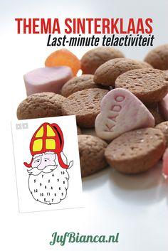 Zoek je een leuke telactiviteit in het thema Sinterklaas? Print deze afbeelding, lamineer ze en zoek wat dobbelstenen bij elkaar. Leuk met pepernoten!