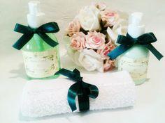 kit sabonete, hidratante e toalha