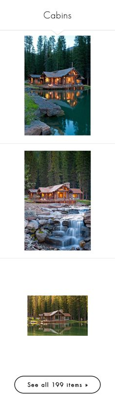 """""""Cabins"""" by horcal ❤ liked on Polyvore featuring backgrounds, home, pictures, house, photography, photos, rooms, kitchen, pics and living room"""