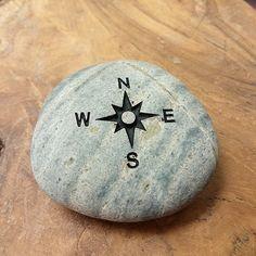 Engraved Beach Pebble Message Stone - Compas http://www.awesomestones.com/