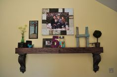 DIY large wall shelf- this would be great for the large empty wall in our living room