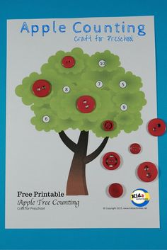 Apple Counting craft for preschool by Kidz Activities. Free Printable included