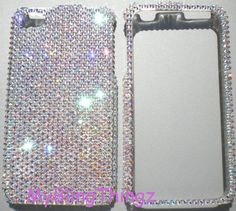 Small 12ss Crystal AB (Iridescent) Diamond Rhinestone BLING Case for Apple iPhone 4 4G 4S made with Swarovski Elements via Etsy.