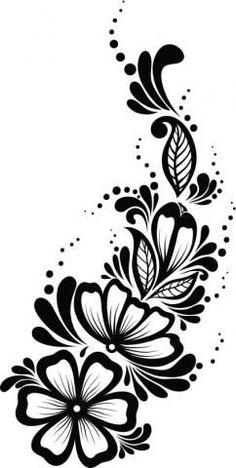 Trendy Flowers Pattern Design Black And White Ideas Stencil Patterns, Stencil Art, Stencil Designs, Flower Pattern Design, Flower Patterns, Mehndi Designs For Hands, Henna Designs, Flower Tattoo Designs, Flower Designs