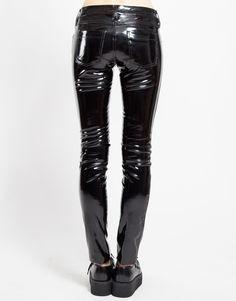 Tripp Women's Gothic Rocker Black Shiny Wet Look PVC Vinyl Pants Jeans - - Women's Clothing, Jeans # Cute Casual Outfits, Stylish Outfits, Pantalon Vinyl, Biker Chick Style, Pvc Leggings, Shiny Leggings, Tight Leather Pants, Leather Overalls, Leather Leggings