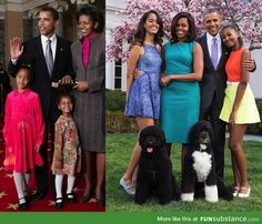 Time flies: The Obama family at the beginning of Obama's presidency and them now