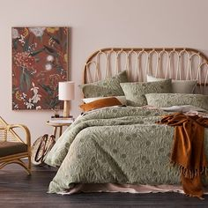 Gumnut Leaf Quilted Quilt Cover Home Republic, Single Quilt, Bed Base, Pillow Protectors, Mattress Protector, Bed Head, Quilt Cover, Rattan, Dark Colors