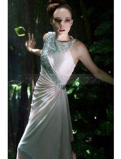 #Pink Jewel Neckline Chic Satin Pleated Beading Modest Prom Dress  prom dress  #2dayslook #prom dress #promfashion  www.2dayslook.com