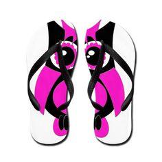 Hot Pink Punk Owl Flip Flops