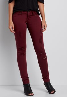 DenimFlex™ jegging in windsor wine with destruction (original price, $39.00) available at #Maurices