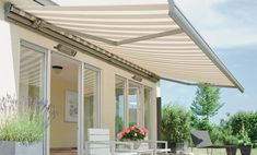Haus Awning - Appeal Home Shading Outdoor Decor, Deck Awnings, House Front, Outdoor Living, Shade House, Pergola Lighting, Pergola Plans Design, Outdoor Blinds