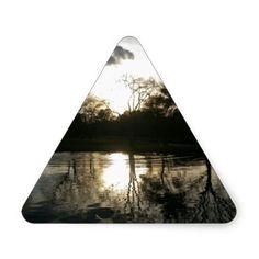 Late at the Lake (Nature & Landscape) Triangle Sticker