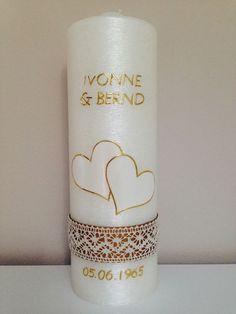 Hochzeitskerzen & Beleuchtung - Hochzeitskerze Vintage schlicht perlmutt weiß - ein Designerstück von myluteo bei DaWanda