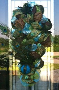 Peacock and Twig deco mesh Swag by DzinerDoorz on Etsy, $90.00