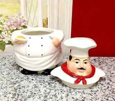 Tuscany Fat Chef Cookie Jar, by ACK for sale online Doll Stands, Cookie Jars, Tuscany, Fat, Ceramics, Cookies, Dolls, Mugs, Storage