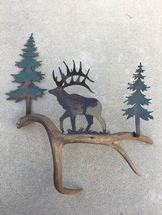 HIGH COUNTRY DESIGNS ANTLER ART This Beautiful Rustic Wall Art is made of Authentic Deer Antler and Precision Cut Metal. Approximately 23 3/4  high and 21  ... & A101) Mule Deer Buck Looking Back Authentic Antler u0026 Metal Wall Art ...