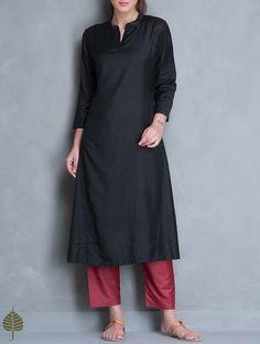 Buy Black Silk Cotton Kurta by Jaypore Women Tunics & Kurtas Online at Jaypore.com