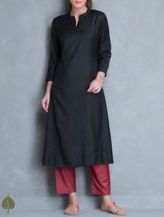 Buy Black Silk Cotton Kurta by Jaypore Apparel Tunics & Kurtas Online at Jaypore.com