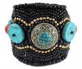 Turquoise and Black Beads Cuff Bracelet