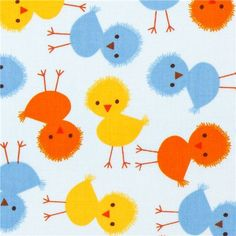pale blue fabric with colourful chicks by Robert Kaufman