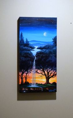 Your place to buy and sell all things handmade Excited to share the latest addition to my shop: night and sunset tree/tree waterfall/surreal Forest Painting, Forest Art, Fantasy Forest, Nature Paintings, Cool Paintings, Art Nature, Waterfall Paintings, Easy Canvas Art, Canvas Painting Tutorials